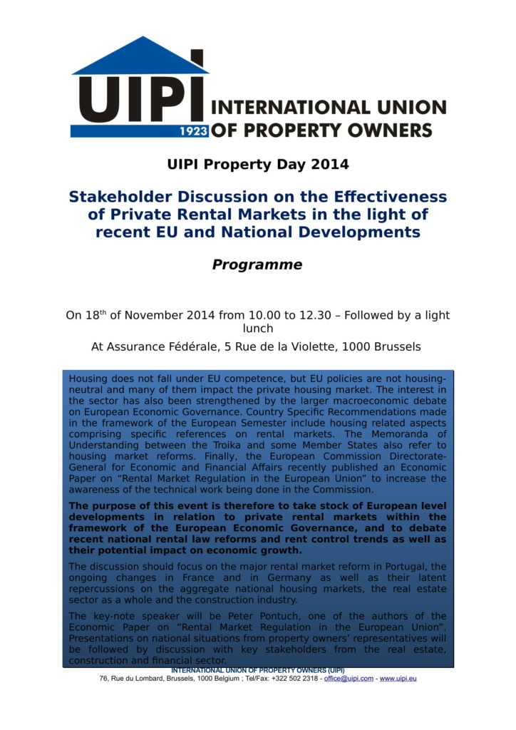 Property Day 2014 – Effectiveness of Private Rental Markets – UIPI